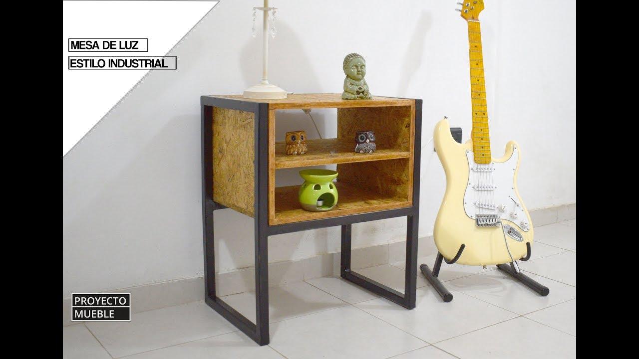 Como hacer mesa de luz hierro y madera estilo industrial for Proyecto de muebles de madera