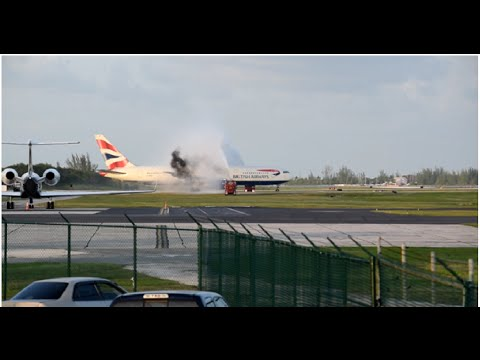 MUST WATCH FAREWELL BRITISH AIRWAYS 767 DEPARTING GRAND CAYMAN WITH WATER CANON SALUTE