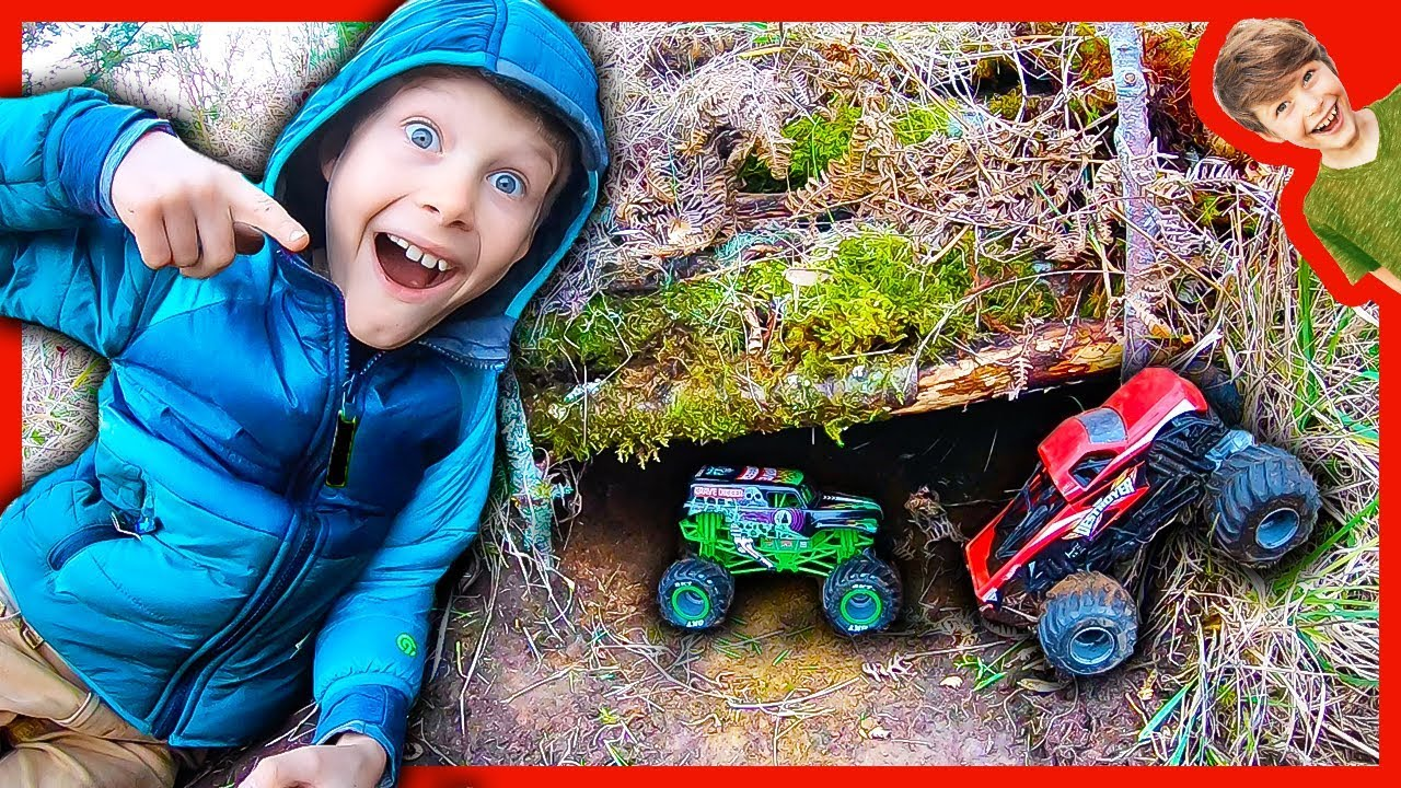 Monster Truck Underground Box Fort Bunker Youtube