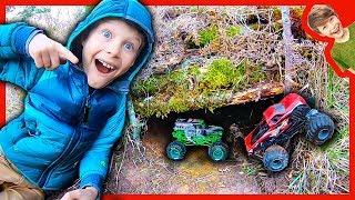 Monster Truck Underground Box Fort Bunker!
