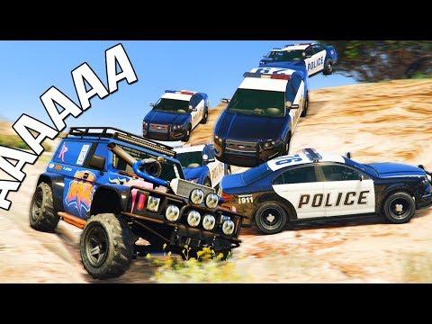 GTA 5 COPS & ROBBERS - ДЖИП С ТУРБОКИТОМ ВАЛИТ ОТ 15 КОПОВ ПО ДЕРЕВНЕ НАРУШАЯ ПДД!