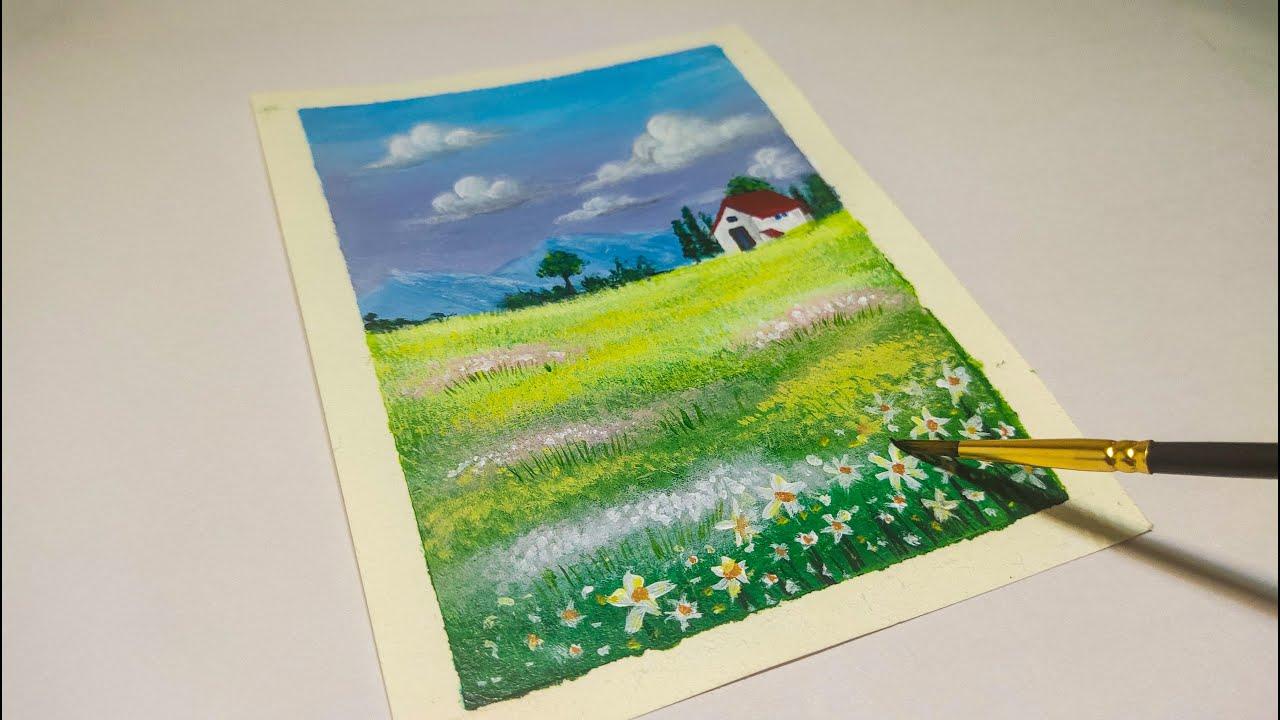 Flower Field   Acrylic Painting Tutorial   Jomari Obierna ...