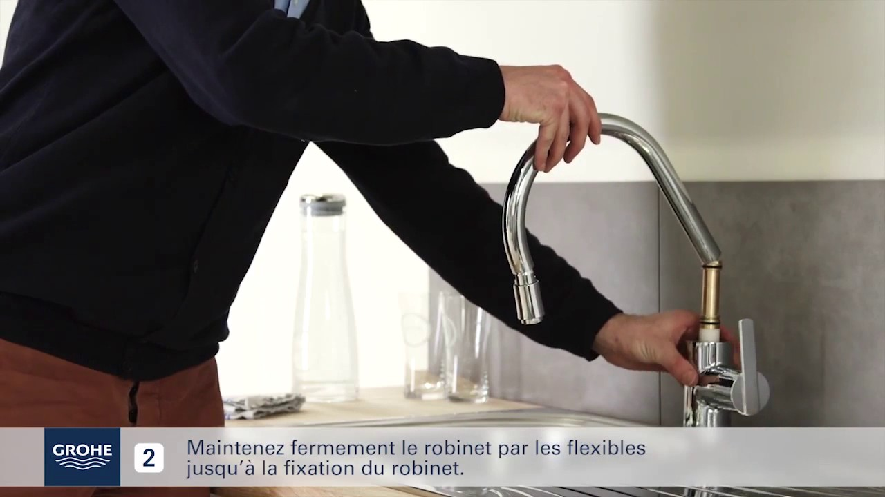 Mitigeur Evier Avec Douchette Extractible Grohe Youtube