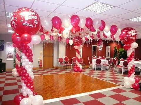 Como adornar un salon para 15 a os con globos youtube for Decoracion para 15 anos 2016