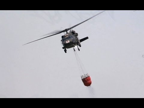 National Guard BlackHawk Helicopters Bambi Buckets Fire Support
