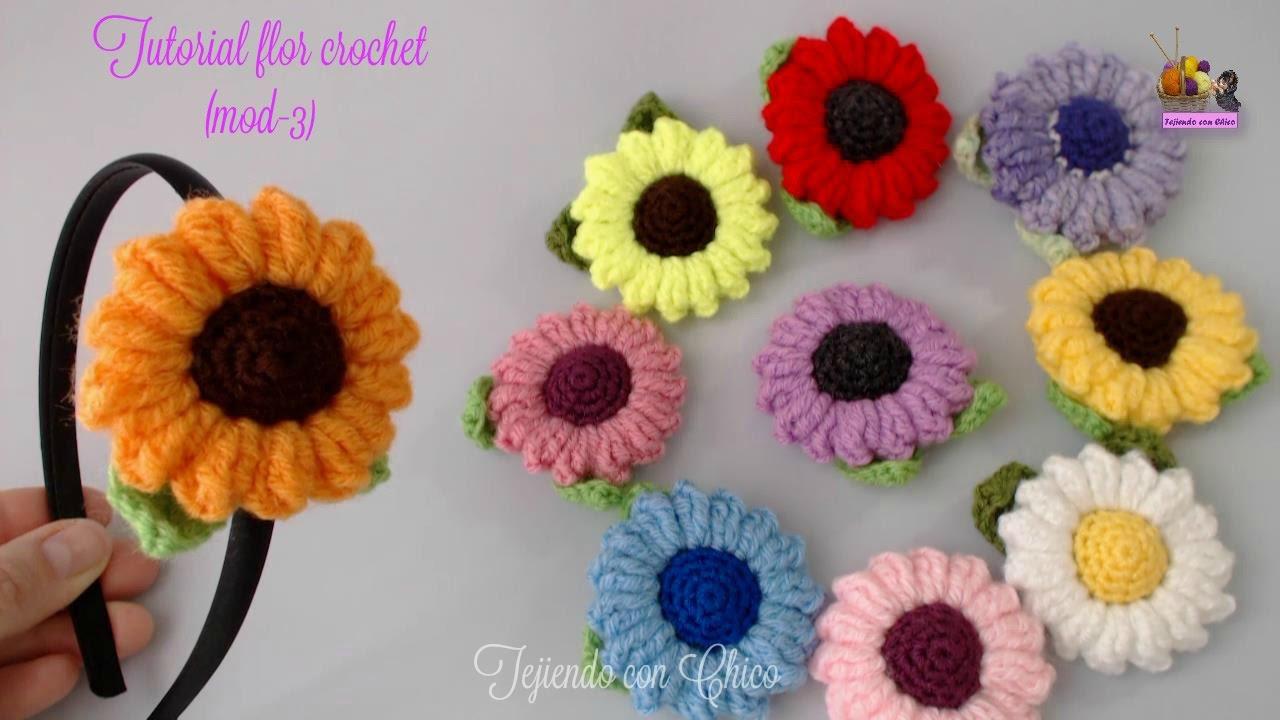 Tutorial flor crochet (mod-3) - YouTube