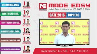 Kapil Kumar, EE AIR-54, GATE 2016 -MADE EASY Student