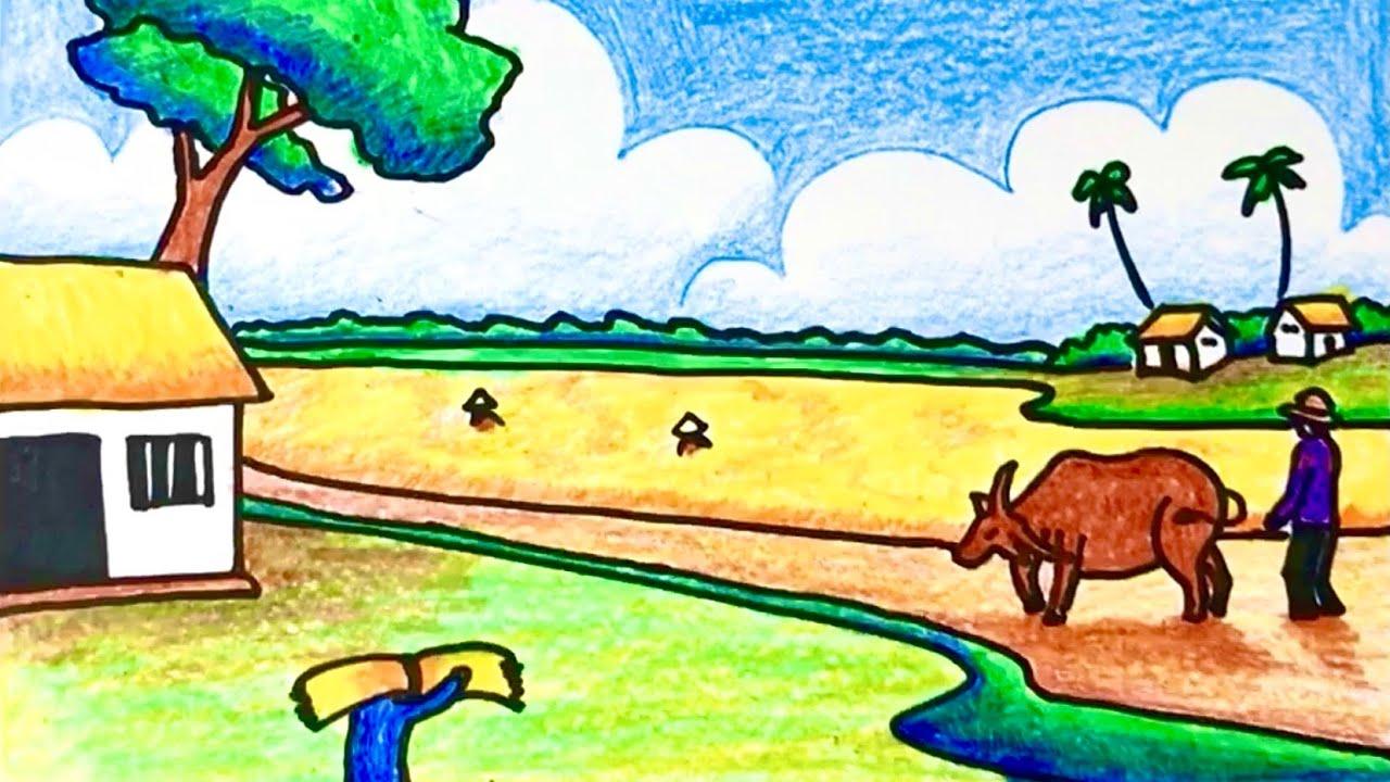 Cách Vẽ Tranh Đề Tài Phong Cảnh Quê Hương Em | How to draw scenery for begginer | Tất tần tật những nội dung về ve tranh de tai phong canh que huong em chuẩn nhất