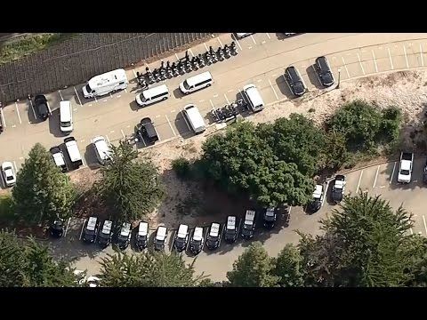 BERKELEY:  Helicopter video of CHP officers preparing for Berkeley protests