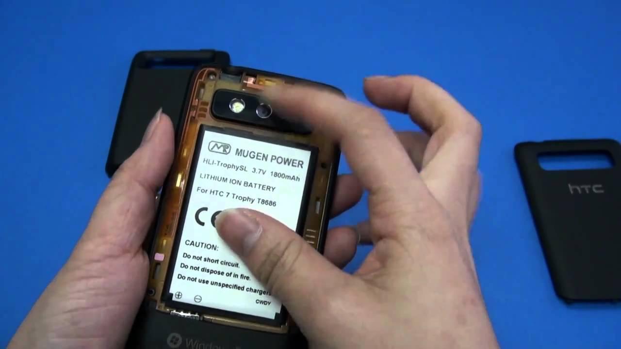 HTC 7 Trophy T8686 1800mAh Mugen Power extended battery HLI ...