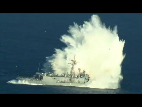 See a retired U.S. Navy ship get bombarded at sea