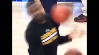 Lebron James Hit by a ball in the Face during warm up