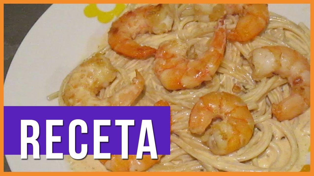 Receta pasta con crema de chipotle y camarones tutorial - Como hacer espaguetis al pesto ...