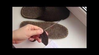 Как связать простые домашние тапочки крючком