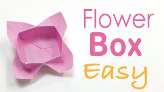 Easy☺︎ Origami Paper Flower Box Tutorial - Origami Kawaii〔#053〕