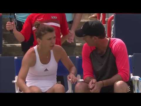 Simona Halep and Darren Cahill On Court Coaching 2 | 2016 Rogers Cup