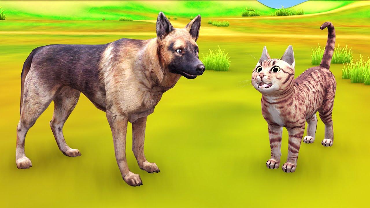 चतुर बिल्ली लोमड़ी से बच हिंदी कहनिया Hindi Kahaniya - Panchatantra Stories -  3D Hindi Kahani
