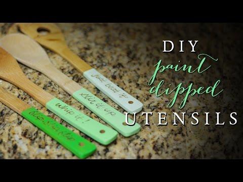 DIY Paint Dipped Utensils | Personalized Wood Utensils
