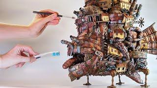 Miniature HOWL'S MOVING CASTLE made from JUNK // Ghibli Crafts