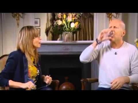 Bruce Willis spits water in strange TV interview