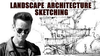 Ландшафтная архитектура -  скетчинг  - навесы и лестницы на дереве - Кичигин Эдуард