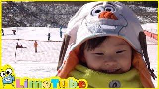 겨울왕국? 마지막 눈썰매 타기 ❤︎ Frozen 엘사,올라프 코스튬 놀이 LimeTube & Toy 라임튜브