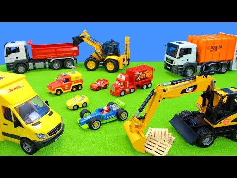 Lego Duplo Ice Cream: Learn Colors and Number Toys & Bruder Excavator, Fireman Sam Trucks for Kids