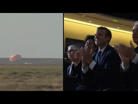 Emmanuel Macron watches French astronaut land in Kazakhstan