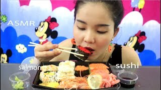 ASMR SUSHI Grade Salmon SASHIMI ( EXTREME SAVAGE EATING SOUNDS) No Talking