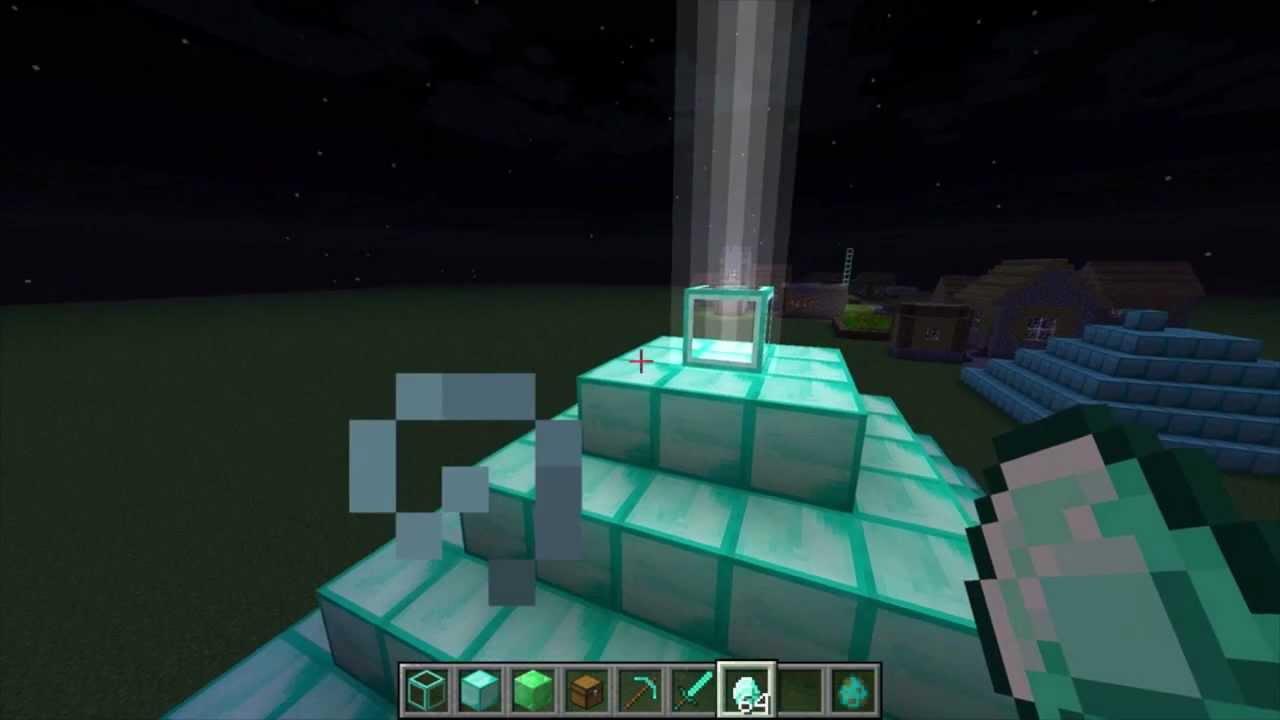 Minecraft 1 4 Beam Of Light Power Pyramid Beacons Youtube