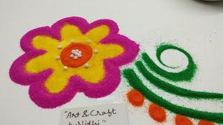 रंगोंली में Perfect Flower बनाये / rangoli for beginners and kids