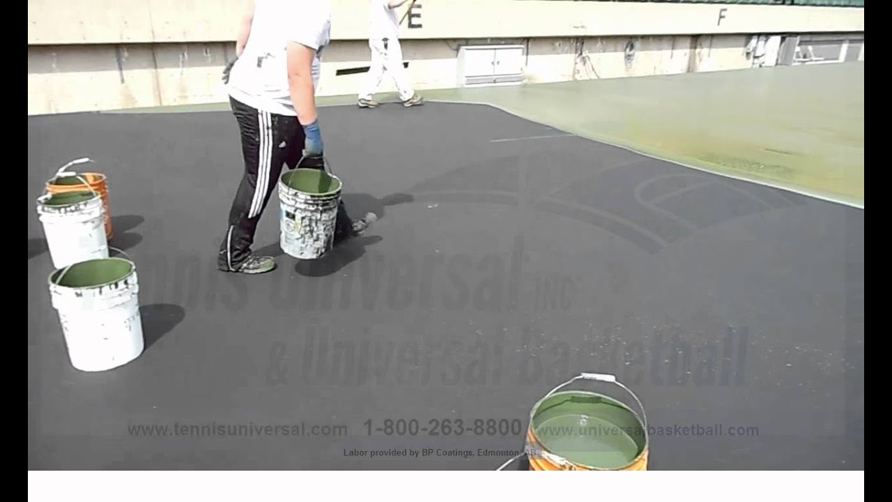 How to paint a tennis court basketball court sport youtube for Sport court paint