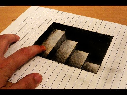 How to draw - 3d stairs to down - Anamorphic Drawing