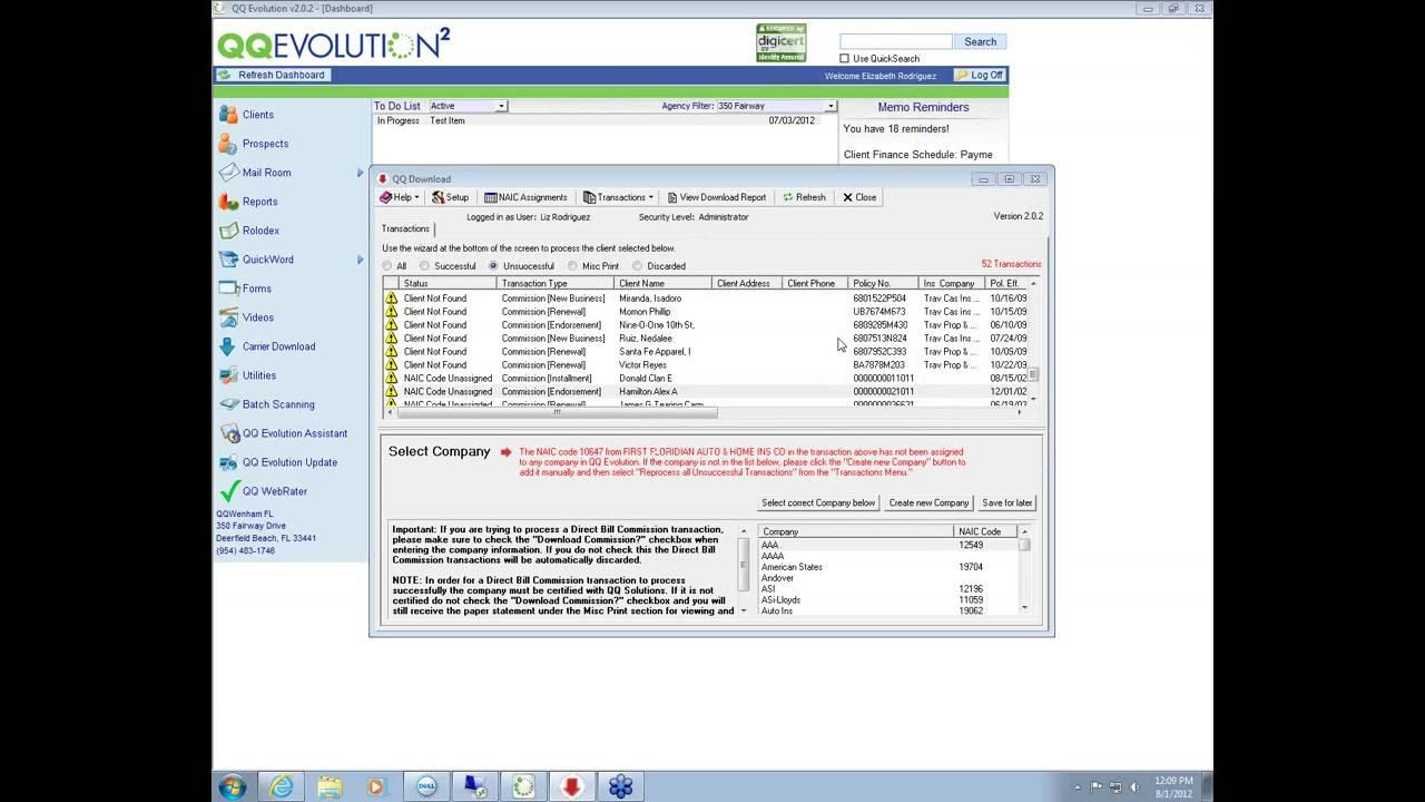 2012 08 01 Direct Bill Commission Setup Reconciliation
