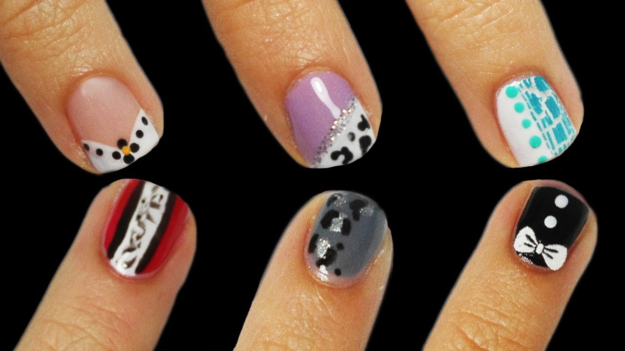 Bien connu 6 Nail Art Tutorial Facili UNGHIE CORTE - YouTube HG98