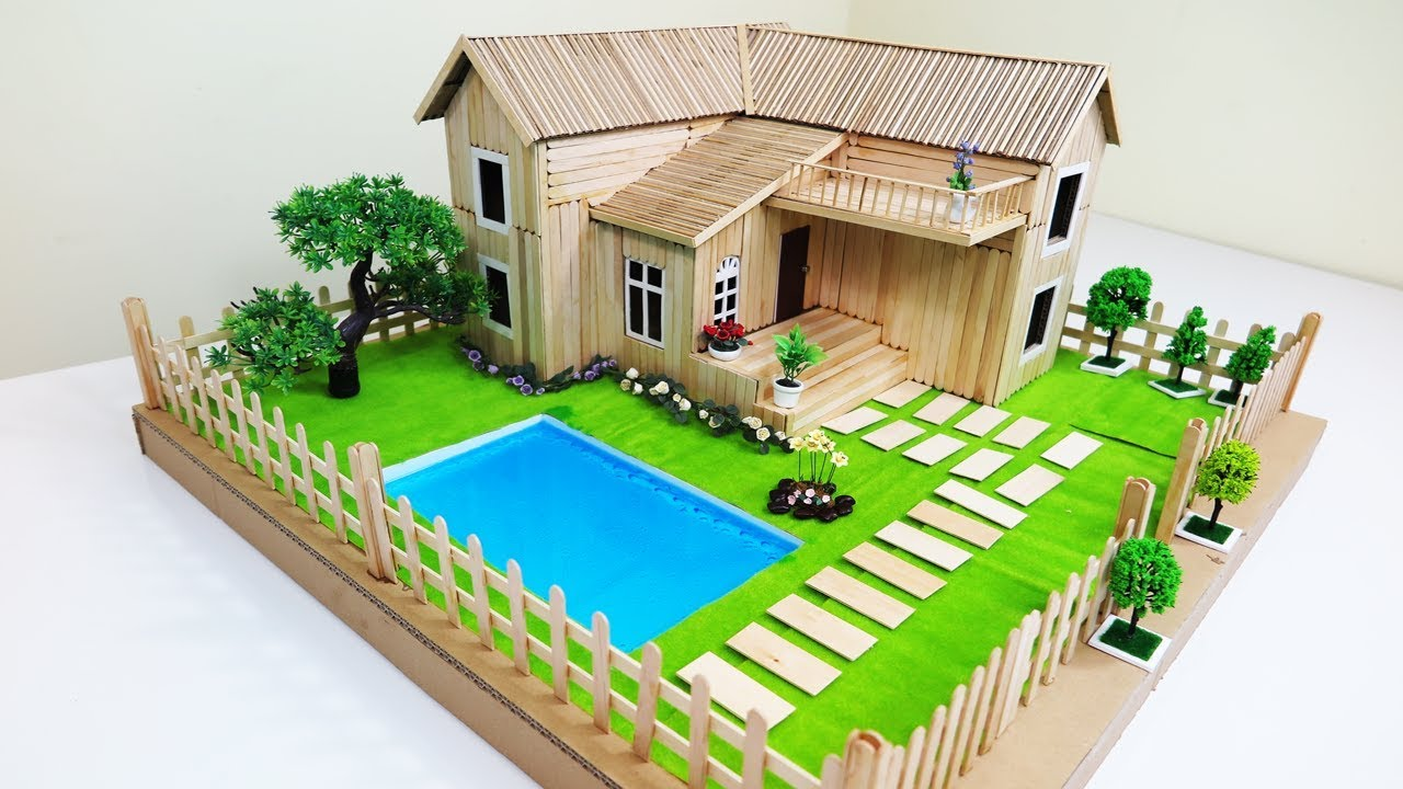 DIY Popsicle Stick House With Beautiful Fairy Garden Swimming Pool Dream Trailer