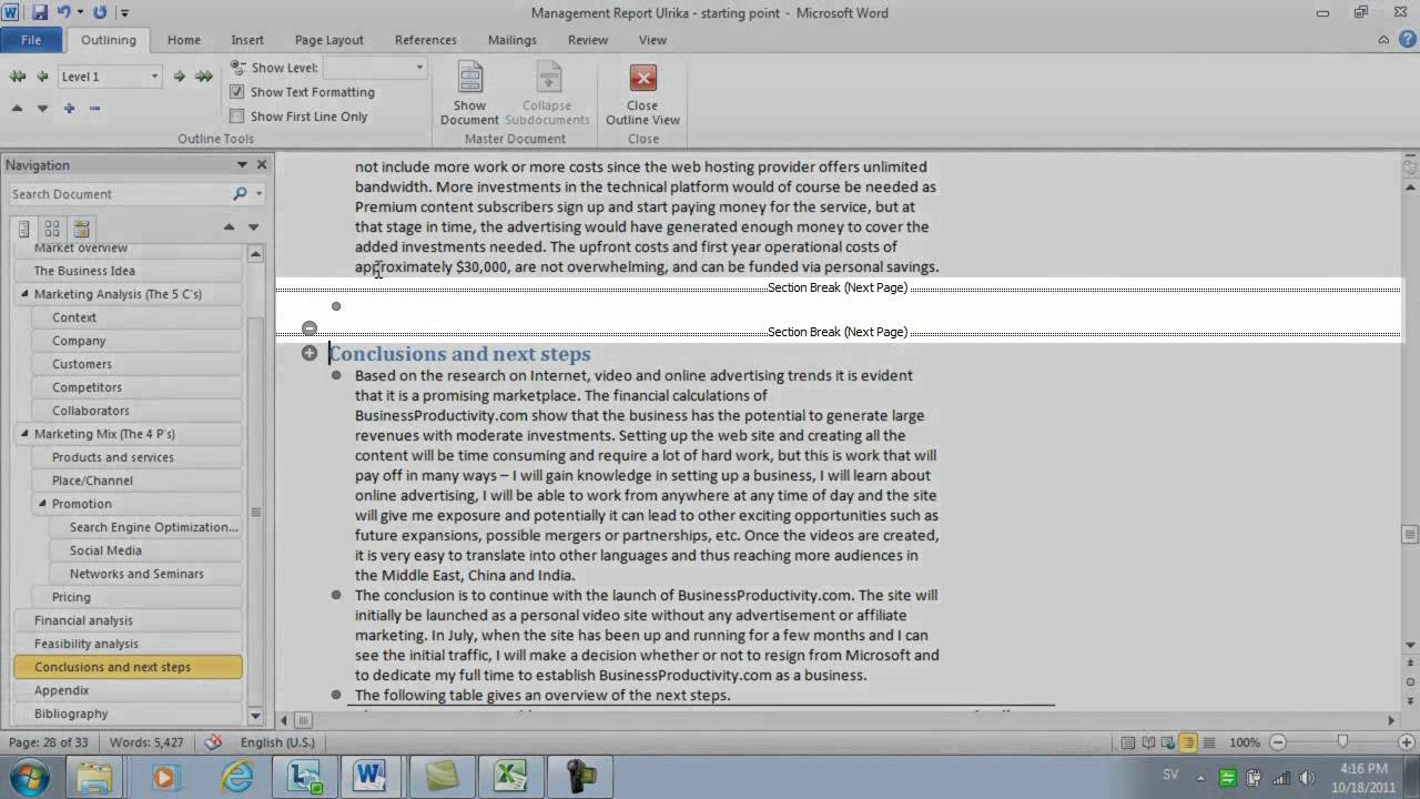 How to insert a single page in landscape mode in word 2010 youtube ccuart Gallery
