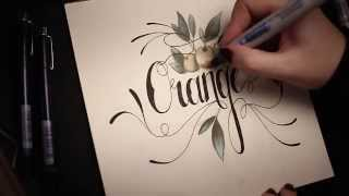 "Handlettering: Incredible Random Words ""Orange"" with pencil and cop..."