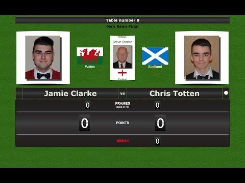 Snooker Men 1/2 Final : Jamie Clarke vs Chris Totten