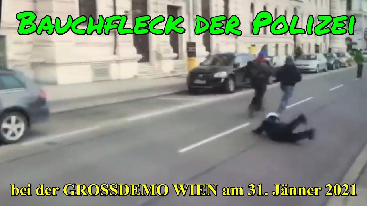 BAUCHFLECK DER POLIZEI bei der GROSSDEMO WIEN am 31. Jänner 2021