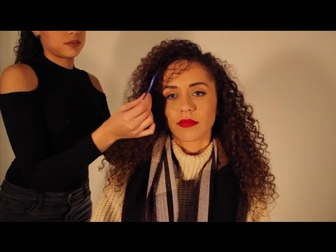 CURLY Hair Play with my DOPPELGANGER + Scalp Massage ASMR