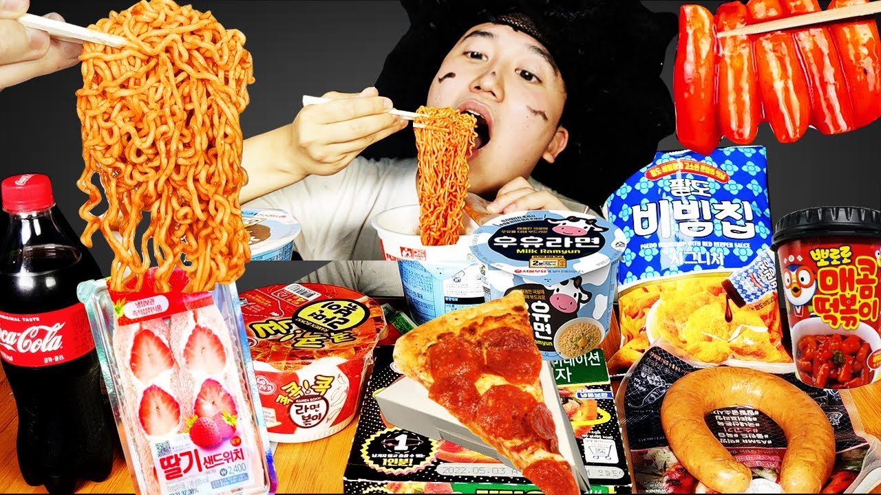 MUKBANG| 편의점 직접 만든 매운라면 떡볶이 피자 김밥  재미있는 먹방 & 레시피 PIZZA AND Tteokbokki FUNY EATING HUBA 후바