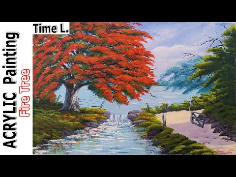 Acrylic Landscape Painting Tutorial | Lesson | Techniques – Fire Tree by Resim Sevgisi