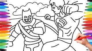 BATMAN AND SUPERMAN // JUSTICE LEAGUE // SUPERHEROES COLORING PAGES // HOW TO DRAW