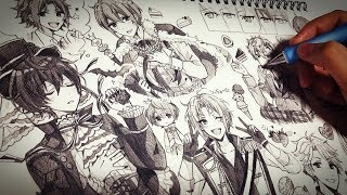 【アナログ】男の子1ページいっぱいに描いてみた👑【あんスタ・Knights】