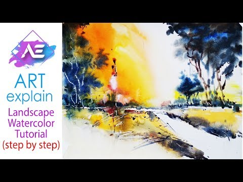 Dark tree Transparent Watercolor Landscape Painting  | How to paint a Landscape | Art Explain