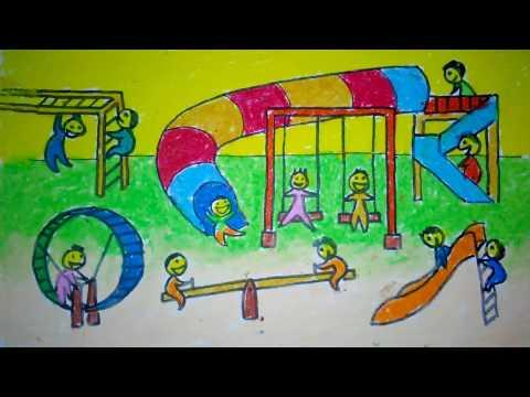 Gambar Ilustrasi Taman Bermain Cara Menggambar Taman Bermain Anak Untuk Anak Sd Youtube