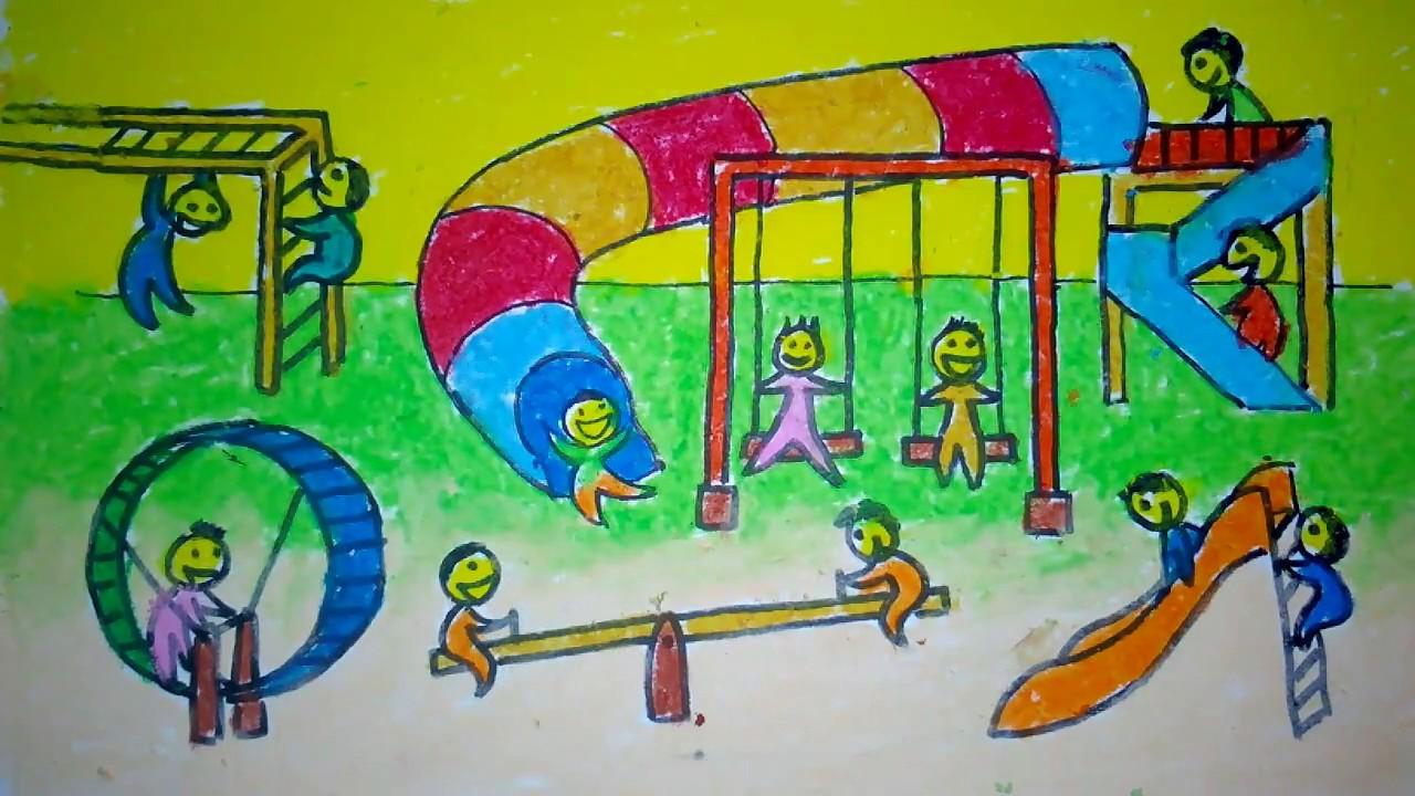 Cara Menggambar Taman Bermain Anak Untuk Anak SD YouTube