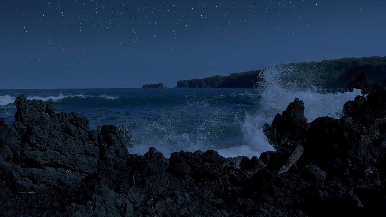 Night Beauty of the Pacific Ocean - 10 HOURS of Calming Ocean Waves Sounds in 240 fps