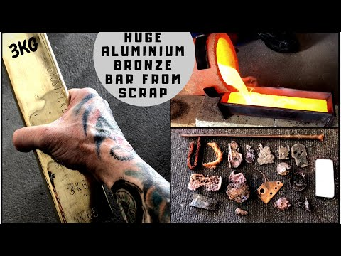 Huge 3kg Aluminium Bronze Bar Made From Scrap - Melting Scrap Copper and Aluminium - Mixing Metals